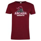 Ladies Cardinal T Shirt-Arcadia Knights Stacked