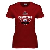 Ladies Cardinal T Shirt-2017 ECAC Softball Champions Diamond