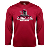 Performance Cardinal Longsleeve Shirt-Arcadia Knights Stacked