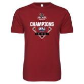 Next Level SoftStyle Cardinal T Shirt-2017 ECAC Softball Champions Diamond
