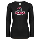 Ladies Black Long Sleeve V Neck Tee-Arcadia Knights Stacked