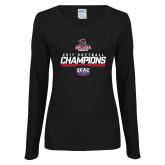 Ladies Black Long Sleeve V Neck Tee-2017 ECAC Softball Champions Stencil