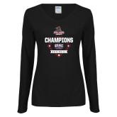 Ladies Black Long Sleeve V Neck Tee-2017 ECAC Softball Champions Diamond