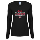 Ladies Black Long Sleeve V Neck Tee-2017 Womens Soccer Champions