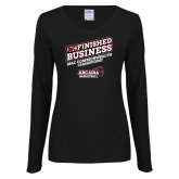 Ladies Black Long Sleeve V Neck Tee-Finished Business MAC Basketball Champions