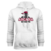White Fleece Hoodie-Arcadia Knights Stacked