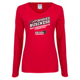 Ladies Red Long Sleeve V Neck Tee-Finished Business MAC Basketball Champions