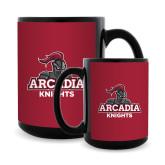 Full Color Black Mug 15oz-Arcadia Knights Stacked
