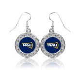 Crystal Studded Round Pendant Silver Dangle Earrings-NAU Primary Mark