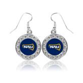 Crystal Studded Round Pendant Silver Dangle Earrings-NAU Primary Mark