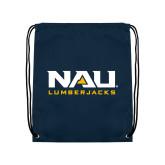 Navy Drawstring Backpack-NAU Lumberjacks Stacked