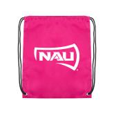 Pink Drawstring Backpack-NAU Primary Mark