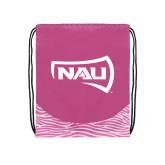 Nylon Zebra Pink/White Patterned Drawstring Backpack-NAU Primary Mark
