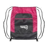 Nylon Pink Raspberry/Deep Smoke Pocket Drawstring Backpack-NAU Primary Mark