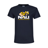 Youth Navy T Shirt-NAU Lumberjacks with Louie