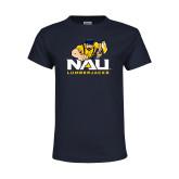 Youth Navy T Shirt-NAU Lumberjacks with Louie