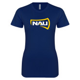 Next Level Ladies SoftStyle Junior Fitted Navy Tee-NAU Primary Mark
