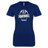 Next Level Ladies SoftStyle Junior Fitted Navy Tee-Football Design