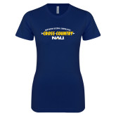 Next Level Ladies SoftStyle Junior Fitted Navy Tee-Cross Country Arrow Design