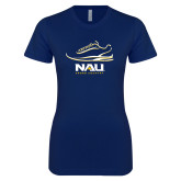 Next Level Ladies SoftStyle Junior Fitted Navy Tee-Cross Country Shoe Design