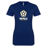 Next Level Ladies SoftStyle Junior Fitted Navy Tee-Soccer Ball Design