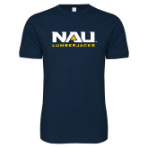 Next Level SoftStyle Navy T Shirt-NAU Lumberjacks Stacked