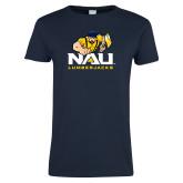 Ladies Navy T Shirt-NAU Lumberjacks with Louie
