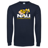 Navy Long Sleeve T Shirt-NAU Lumberjacks with Louie