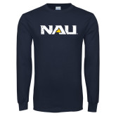 Navy Long Sleeve T Shirt-NAU Distressed