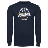 Navy Long Sleeve T Shirt-Football Design