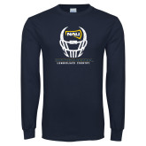 Navy Long Sleeve T Shirt-Football Helmet Design