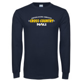 Navy Long Sleeve T Shirt-Cross Country Arrow Design