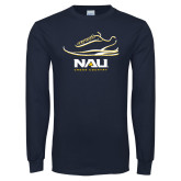 Navy Long Sleeve T Shirt-Cross Country Shoe Design