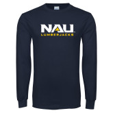 Navy Long Sleeve T Shirt-NAU Lumberjacks Stacked