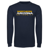 Navy Long Sleeve T Shirt-Northern Arizona University Stacked