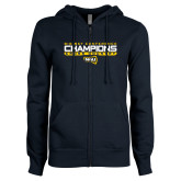 ENZA Ladies Navy Fleece Full Zip Hoodie-Big Sky Conference Champions