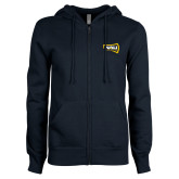 ENZA Ladies Navy Fleece Full Zip Hoodie-NAU Lumberjacks