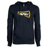ENZA Ladies Navy Fleece Full Zip Hoodie-NAU Primary Mark