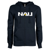ENZA Ladies Navy Fleece Full Zip Hoodie-NAU