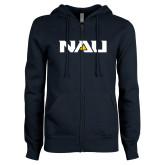 ENZA Ladies Navy Fleece Full Zip Hoodie-NAU