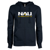 ENZA Ladies Navy Fleece Full Zip Hoodie-NAU Lumberjacks Stacked