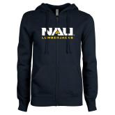 ENZA Ladies Navy Fleece Full Zip Hoodie-NAU Lumberjacks Stacked