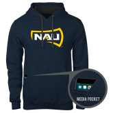 Contemporary Sofspun Navy Heather Hoodie-NAU Primary Mark