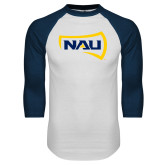 White/Navy Raglan Baseball T-Shirt-NAU Primary Mark