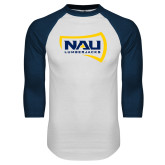 White/Navy Raglan Baseball T-Shirt-NAU Lumberjacks