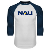 White/Navy Raglan Baseball T-Shirt-NAU