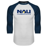 White/Navy Raglan Baseball T-Shirt-NAU Lumberjacks Stacked