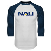 White/Navy Raglan Baseball T-Shirt-NAU Distressed