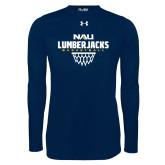 Under Armour Navy Long Sleeve Tech Tee-Basketball Net Design