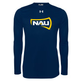 Under Armour Navy Long Sleeve Tech Tee-NAU Primary Mark